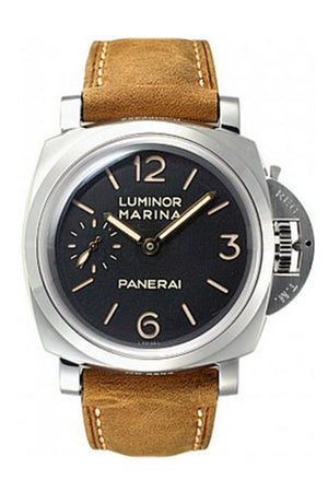 Panerai Luminor Marina 1950 3 Days Black Dial Brown Leather Mens Watch Pam00422