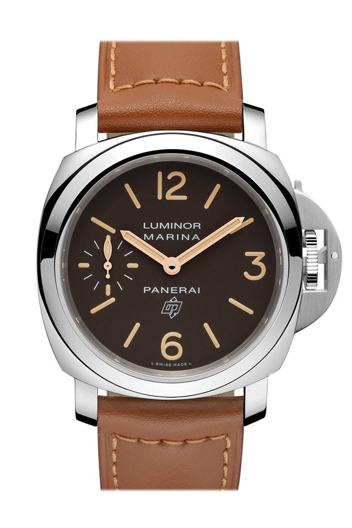 Panerai Luminor Marina Logo Acciaio 44mm Brown Dial Men's Watch Pam00632