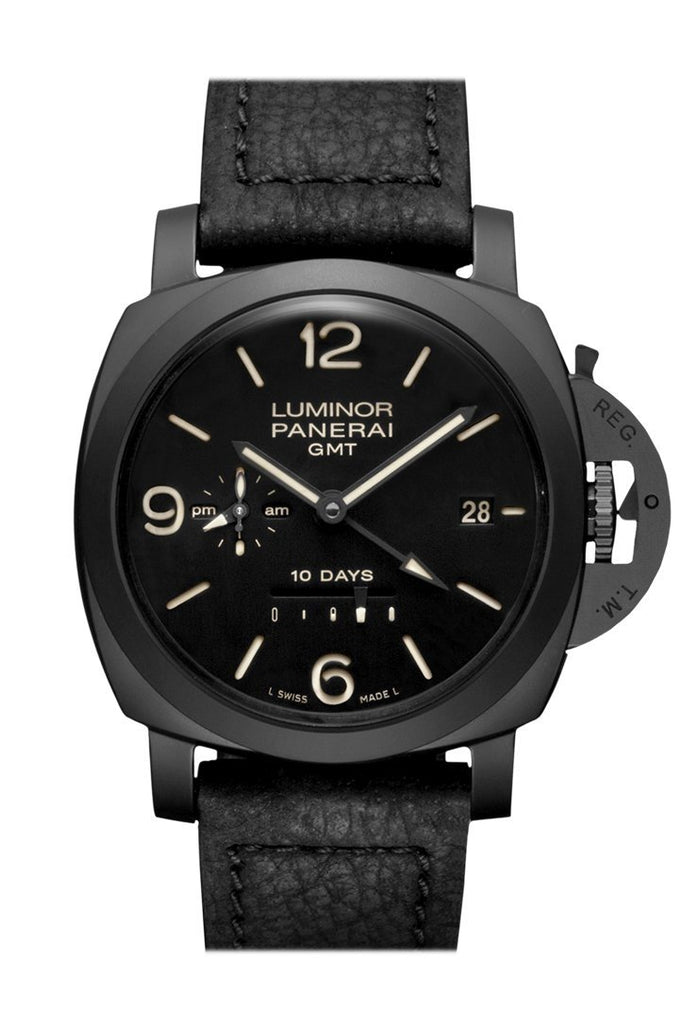 Panerai Luminor 1950 10 Days Automatic Gmt Ceramica 44Mm Black Dial Mens Watch Pam00335