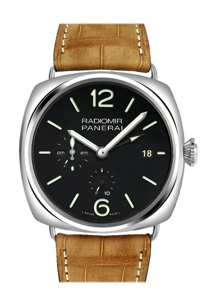 Panerai Radiomir 10 Days GMT Black Dial Brown Leather Strap Men's Watch PAM00323