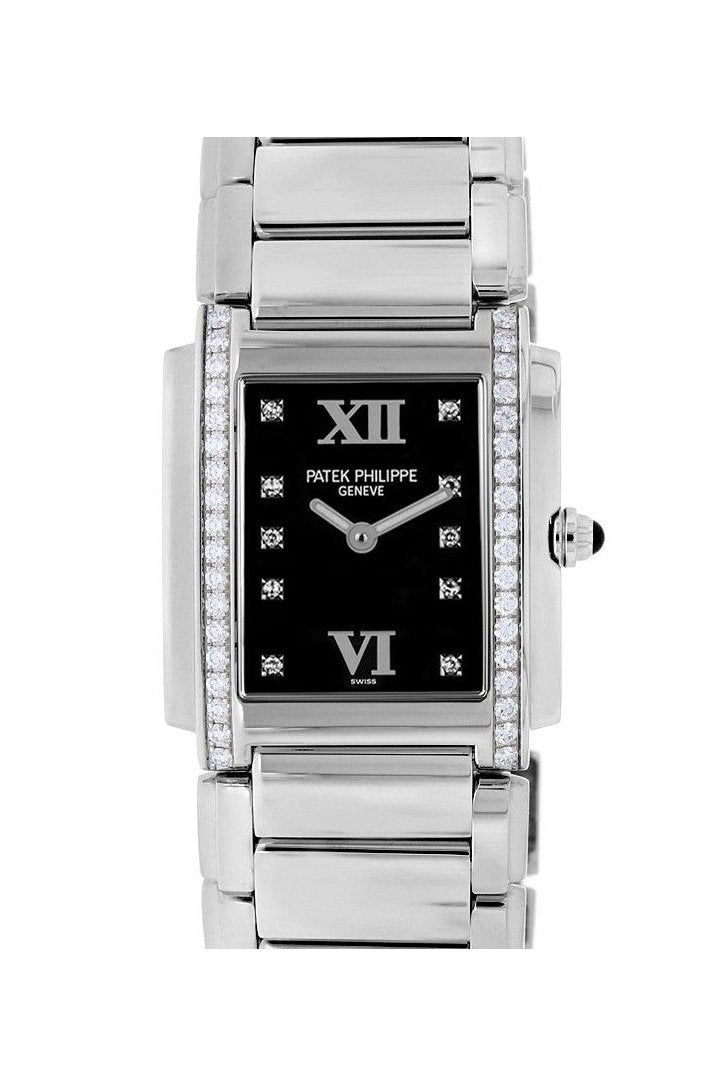 Patek Philippe Twenty-4 Black Dial Steel Diamond Ladies Watch 4910/10A-001