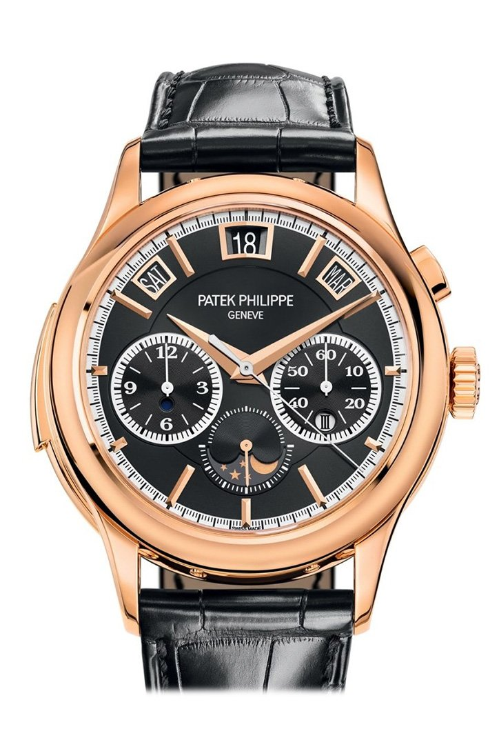 Patek Philippe Grand Complications Black Sunburst Rose Gold Leather 5208R-001 Watch