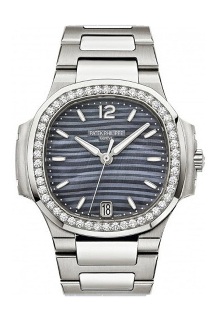 Patek Philippe Nautilus Blue Tinted Mother Of Pearl Dial Ladies Diamond Watch 7018/1A-010