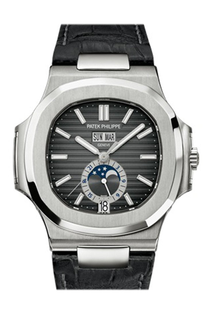 Patek Philippe Nautilus Automatic Gmt Moonphase Black Dial Stainless Steel Mens Watch 5726A-001
