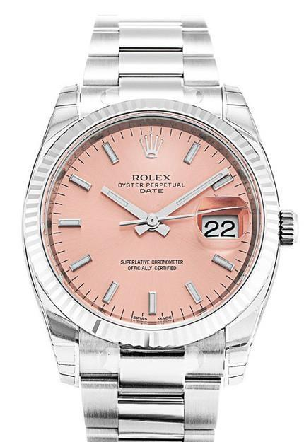 Rolex Date 34 Pink Dial Steel White Gold Watch 115234