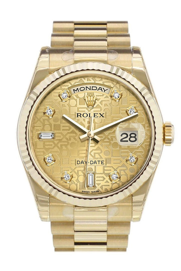 Rolex Day-Date 36 Champagne-colour Jubilee design set with diamonds Dial Fluted Bezel President Yellow Gold Watch 118238