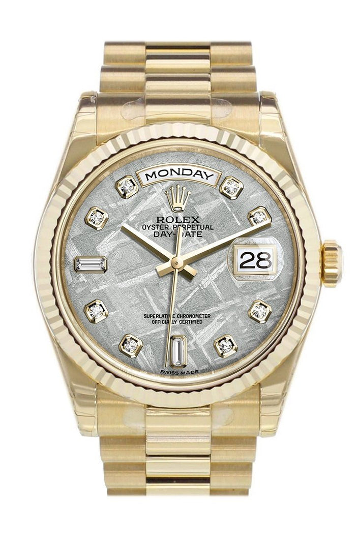 Rolex Day-Date 36 Meteorite Diamonds Dial Fluted Bezel President Yellow Gold Watch 118238