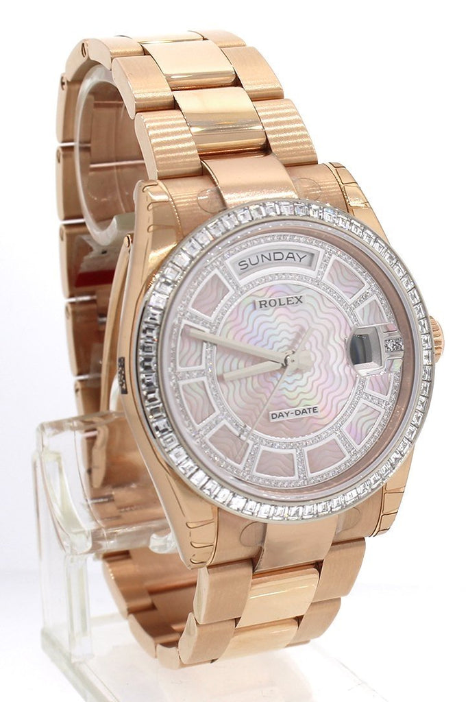 Rolex Day-Date 36 Carousel of Pink Mother of Pearl Diamond Dial 18K Everose gold Automatic Watch 118395BR