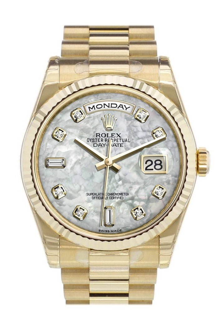 Rolex Day-Date 36 White mother-of-pearl diamonds Dial Fluted Bezel President Yellow Gold Watch 118238