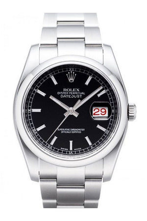Rolex Datejust 36 Black Dial Stainless Steel Watch 116200 / None