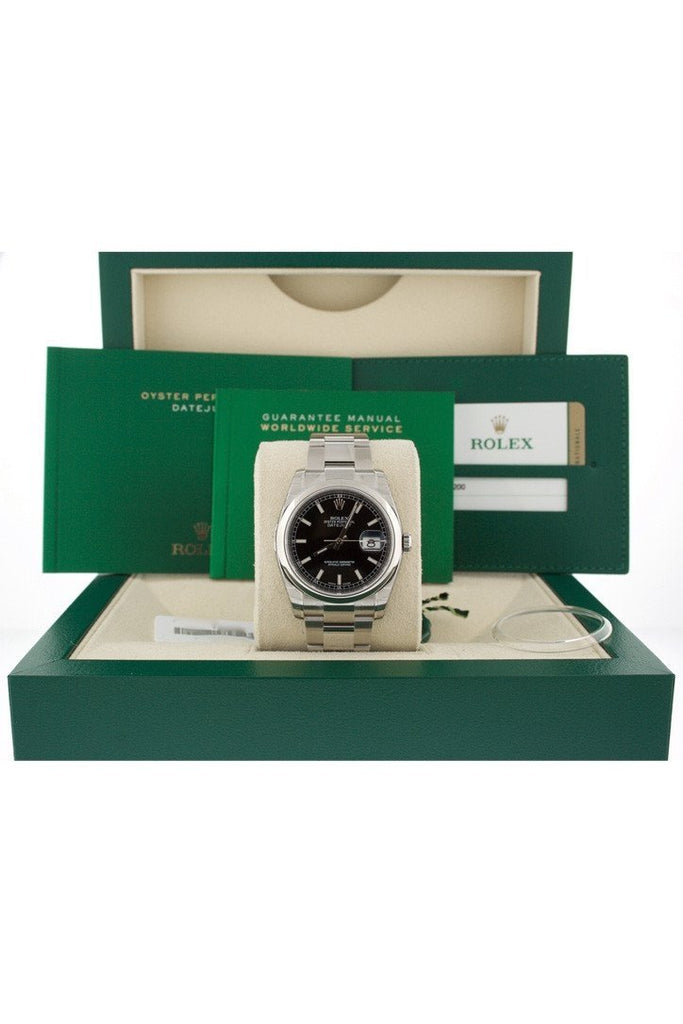 ROLEX Datejust 36mm Black Dial Stainless Steel Watch 116200 box
