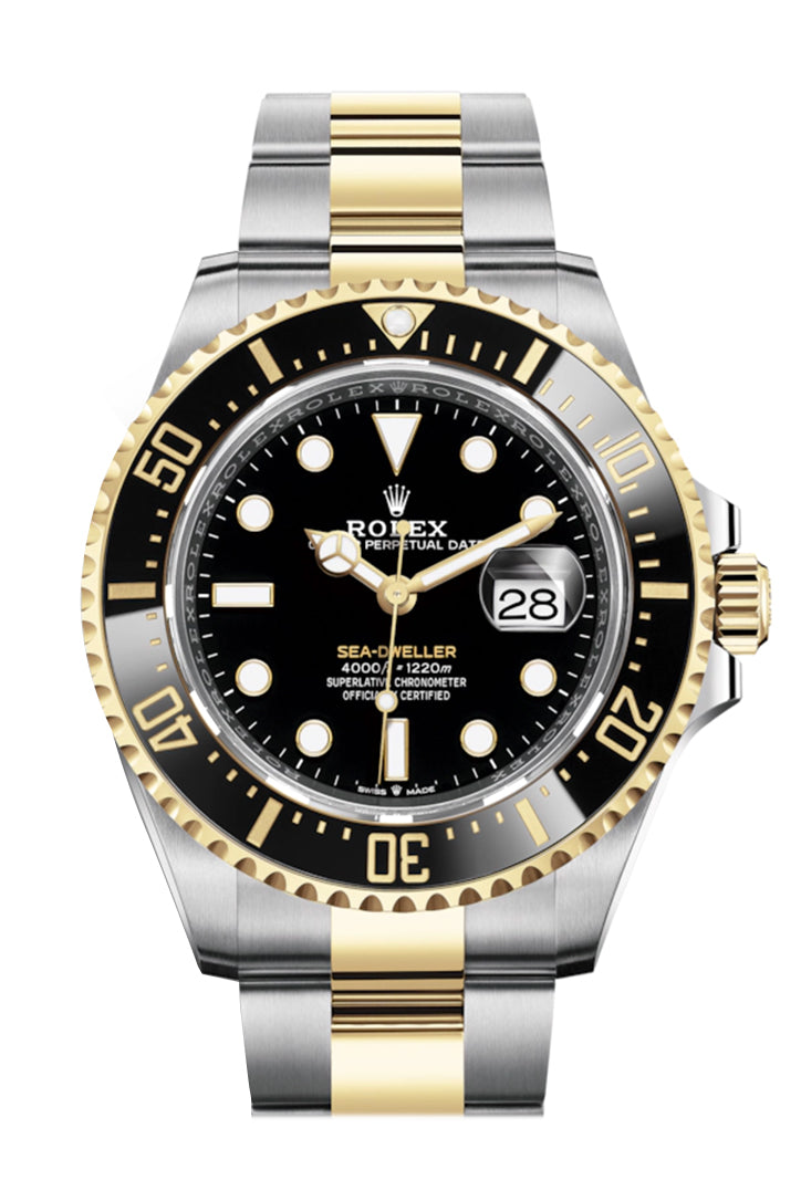 Rolex Sea-Dweller 43 Black Dial 18K Yellow Gold Men's Stainless Steel Oyster Watch 126603
