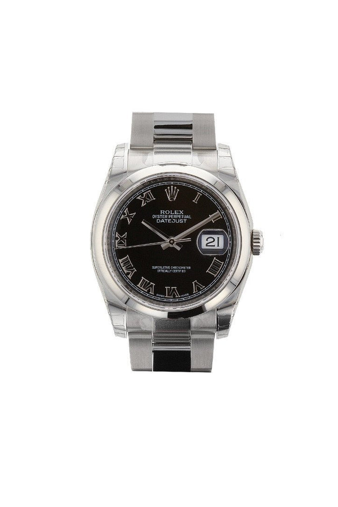 Rolex Datejust 36 Black Roman Dial Mens Watch 116200