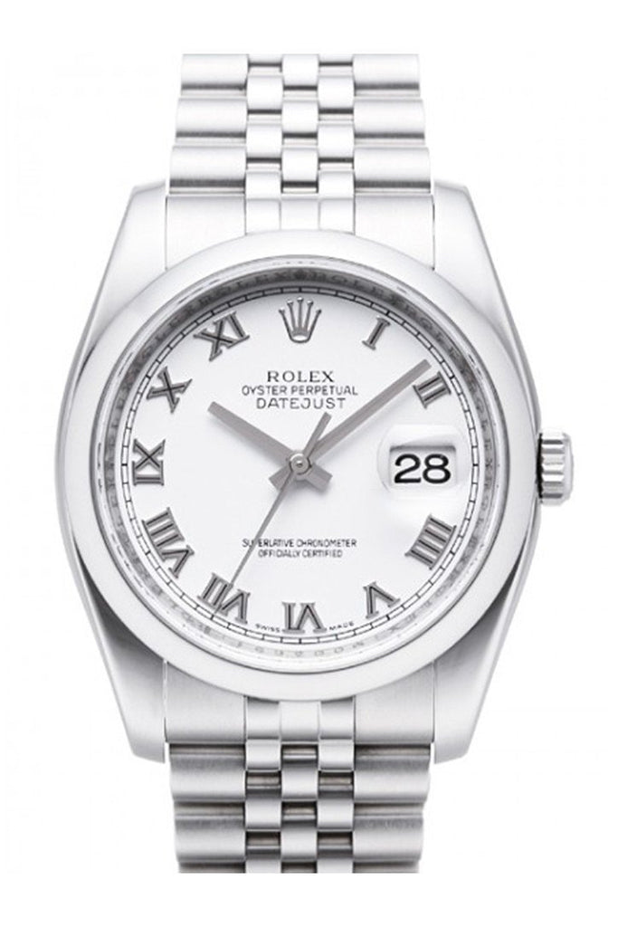 Rolex Datejust 36 White Roman Dial Jubilee Mens Watch 116200 / None