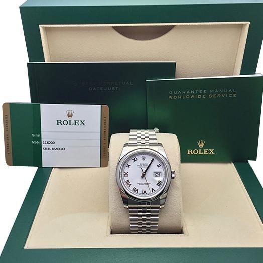 Rolex Datejust 36 White Roman Dial Jubilee Mens Watch 116200
