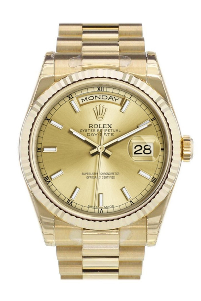 Rolex Day-Date 36 Champagne-colour Dial Fluted Bezel President Yellow Gold Watch 118238