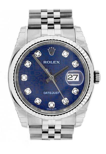 Rolex Datejust 36 Blue Jubilee Diamonds Dial Watch 116234