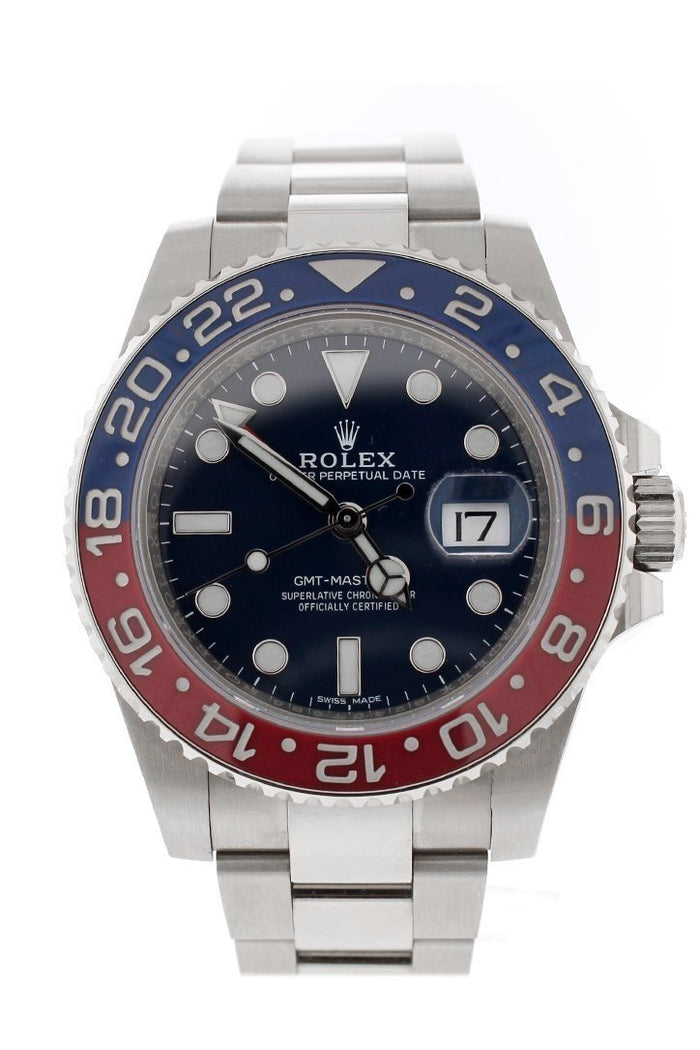 Rolex GMT Master II Blue Dial 18kt White Gold Oyster Bracelet Men's Watch 116719BLRO