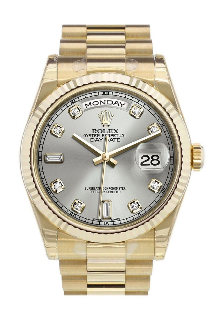 Rolex Day-Date 36 Silver set with diamonds Dial Fluted Bezel President Yellow Gold Watch 118238