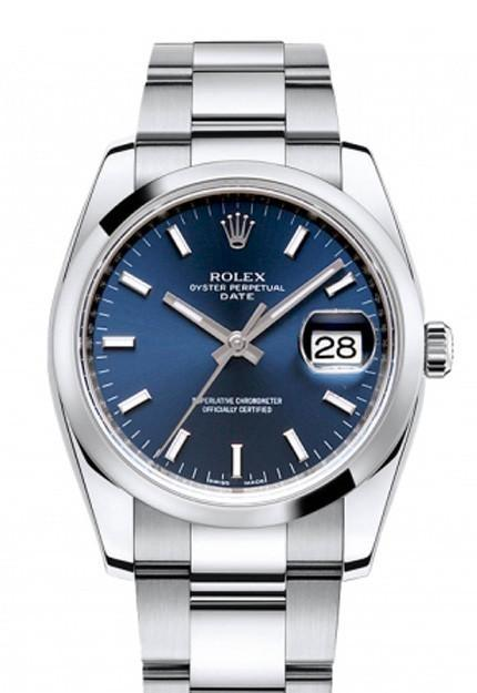 ROLEX 115200 Date 34 Blue Dial Stainless Steel Men'S Watch | WatchGuyNYC
