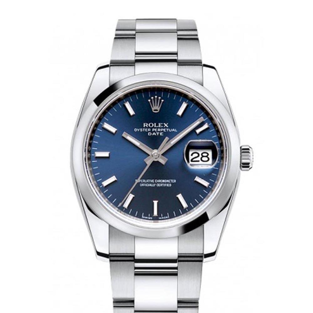 Rolex Date 34 Blue Dial Stainless Steel Mens Watch 115200