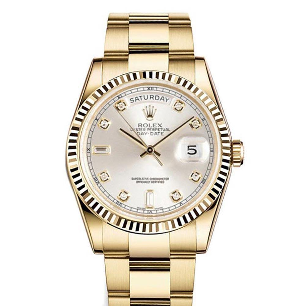 Rolex Day-Date 36 Silver Dial 18K Yellow Gold President Mens Watch 118238