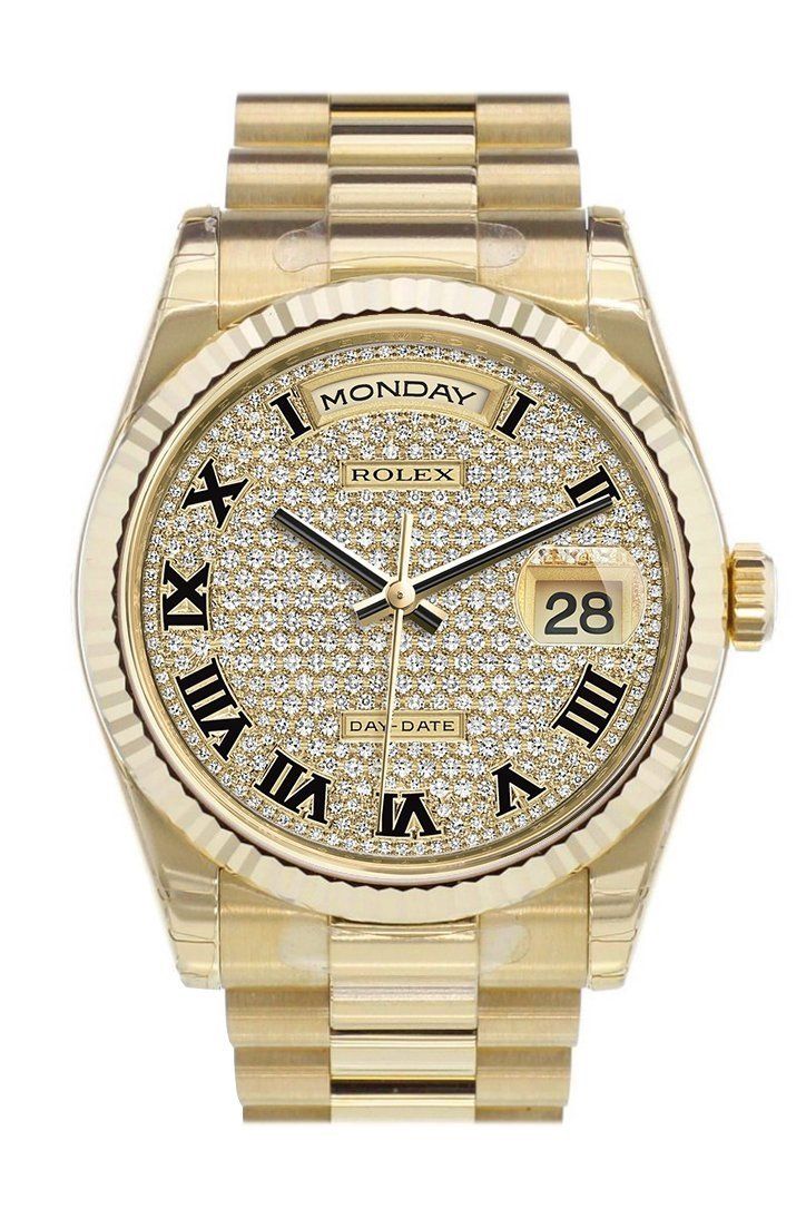 Rolex Day-Date 36 Diamond-Paved Dial Fluted Bezel President Yellow Gold Watch 118238