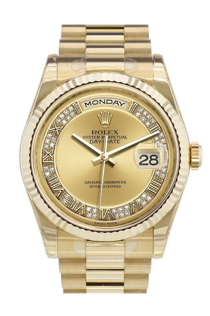 Rolex Day-Date 36 Champagne-colour set with diamonds Dial Fluted Bezel President Yellow Gold Watch 118238