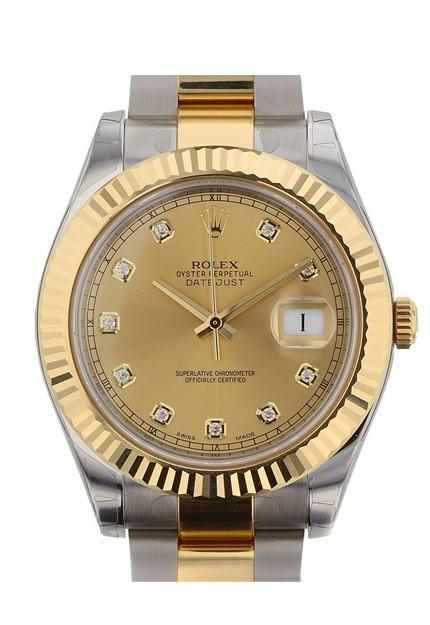 Rolex Datejust Ii 41 Champagne Diamonds Dial Stainless Steel And Gold Mens Watch 116333