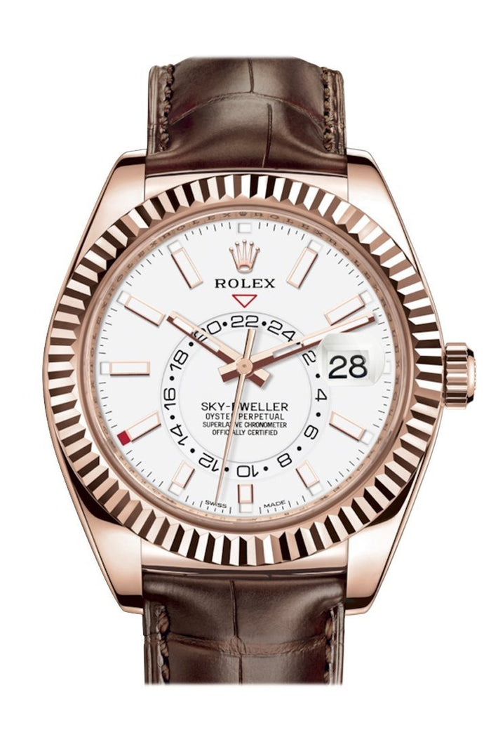 Rolex Sky Dweller White Dial 18k Rose Gold Brown Leather Strap Men's Watch 326135