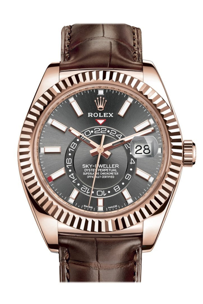 Rolex Sky Dweller Dark Rhodium Dial 18k Rose Gold Brown Leather Strap Men's Watch 326135