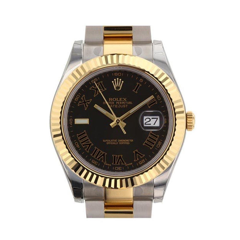 Rolex Datejust Ii 41 Black Roman Dial Mens Watch 116333