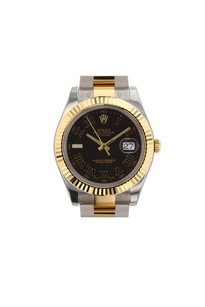 ROLEX 116333 Datejust II 41 Black Roman Dial Men's Watch | WatchGuyNYC