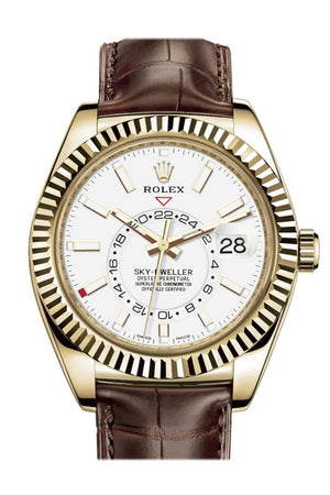 Rolex Sky Dweller White Dial 18K Yellow Gold Brown Leather Strap Mens Watch 326138