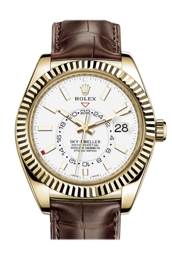 Rolex Sky Dweller White Dial 18k Yellow Gold Brown Leather Strap Men's Watch 326138