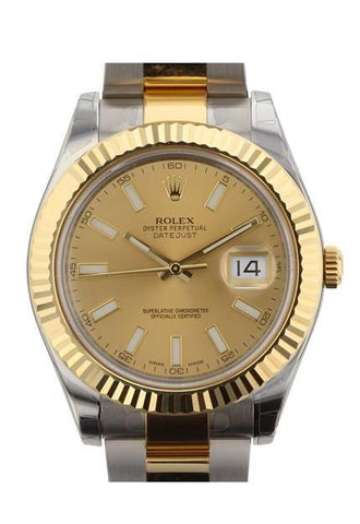 ROLEX 116333 Datejust II 41 Champagne Dial Gold Men's Watch | WatchGuyNYC