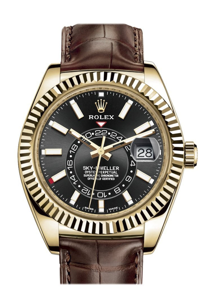 Rolex Sky Dweller Dark Rhodium Dial 18K Yellow Gold Brown Leather Strap Mens Watch 326138