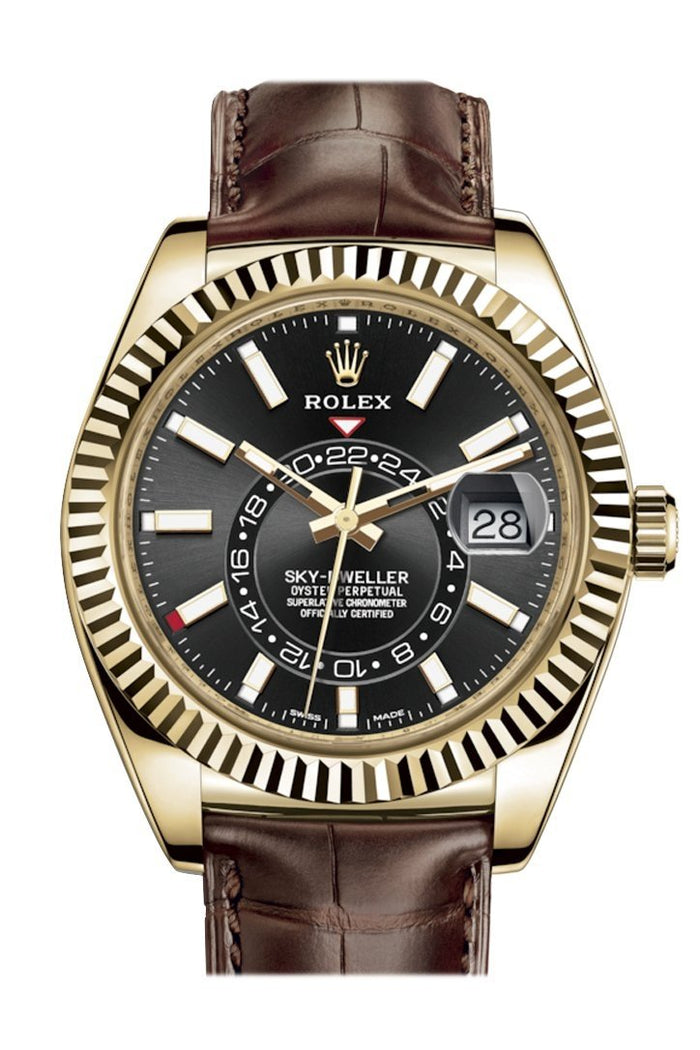 Rolex Sky Dweller Dark Rhodium Dial 18k Yellow Gold Brown Leather Strap Men's Watch 326138