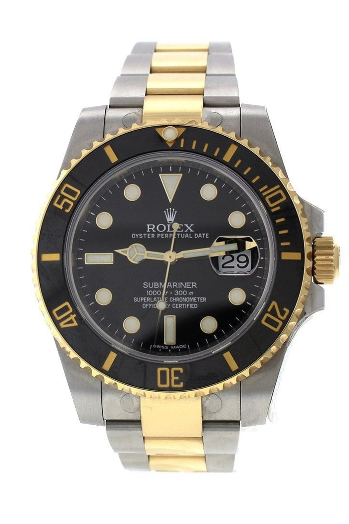 Rolex Submariner Date 40 Black Dial 18k Yellow Gold and Steel Men's Watch 116613 Pre Owned