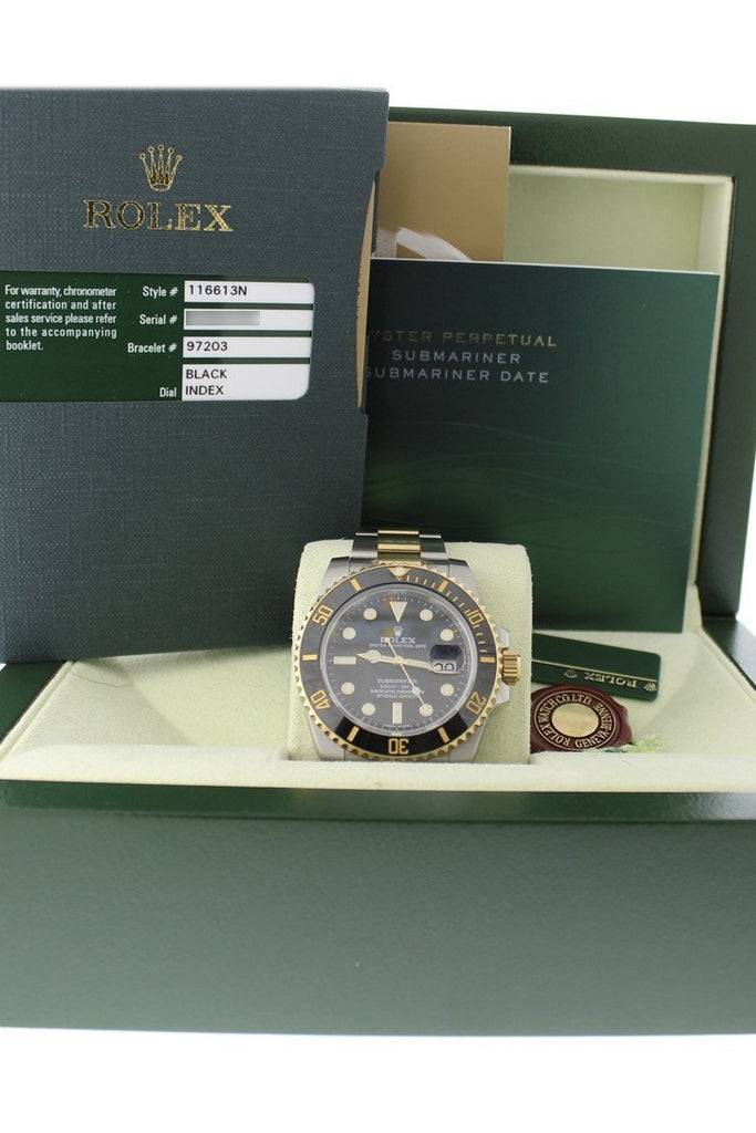Rolex Submariner Date 40 Black Dial 18k Yellow Gold and Steel Men's Watch 116613