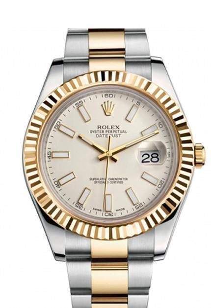 Rolex Datejust Ii 41 Cream Ivory Dial Stainless Steel Gold Mens Watch 116333