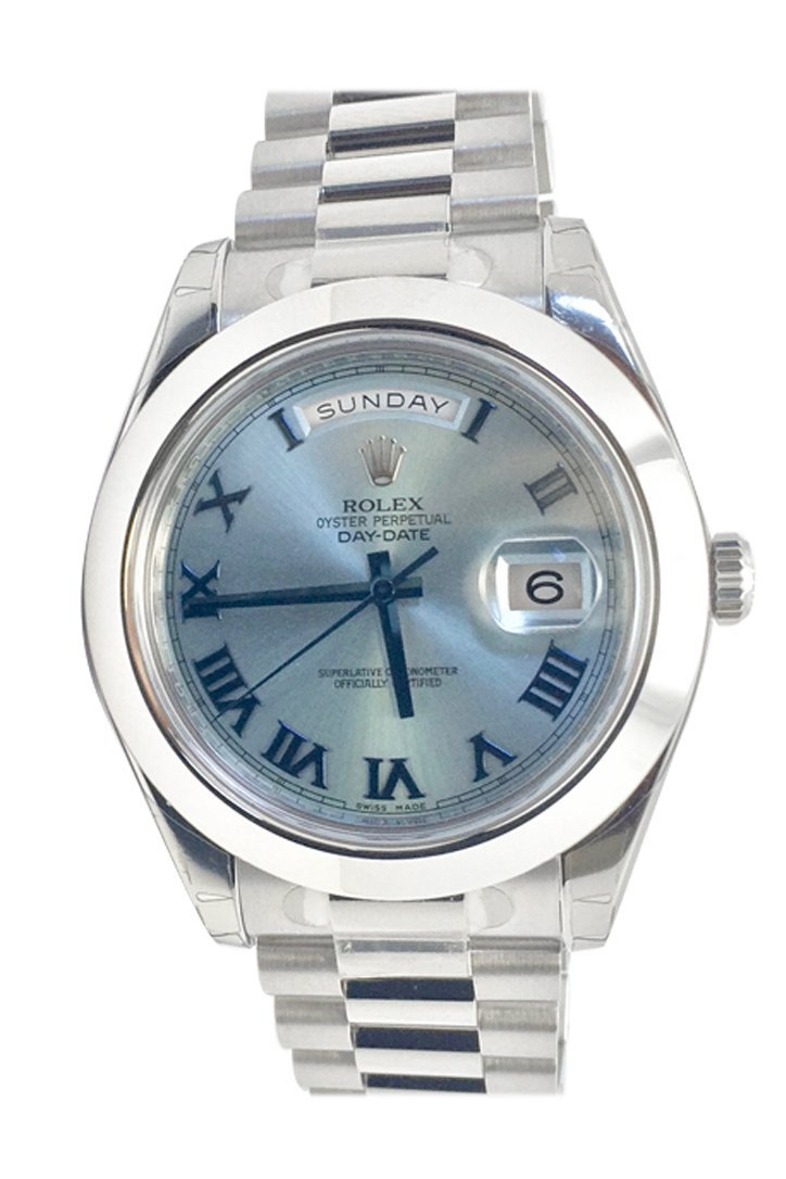 Rolex Day-Date Ii 41 Ice Blue Dial Platinum President Mens Watch 218206