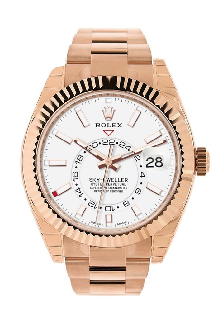 Rolex Sky Dweller White Dial 18kt Everose Gold Men's Watch 326935
