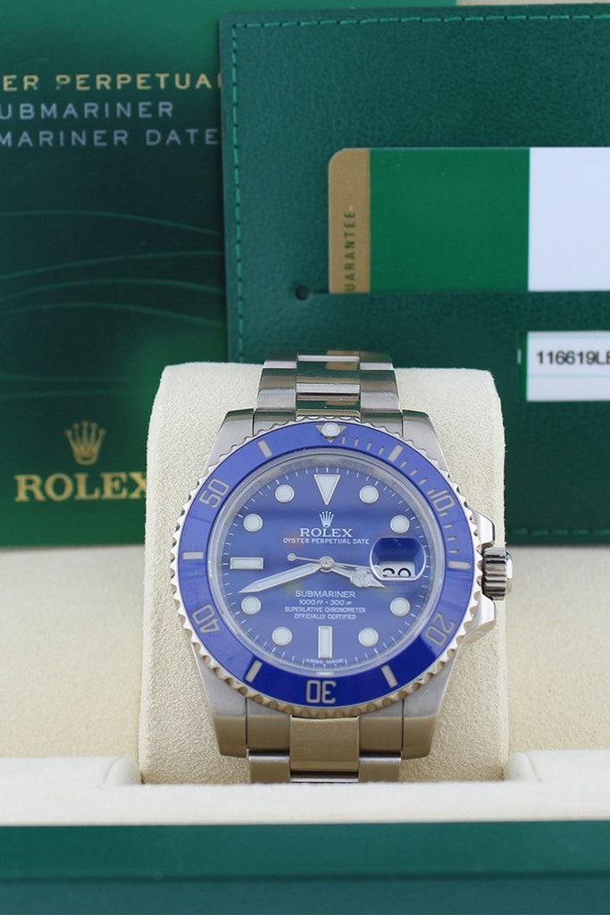 Rolex Submariner Date Blue Dial 18K White Gold Steel Mens Watch 116619Lb Pre-Owned-Watches