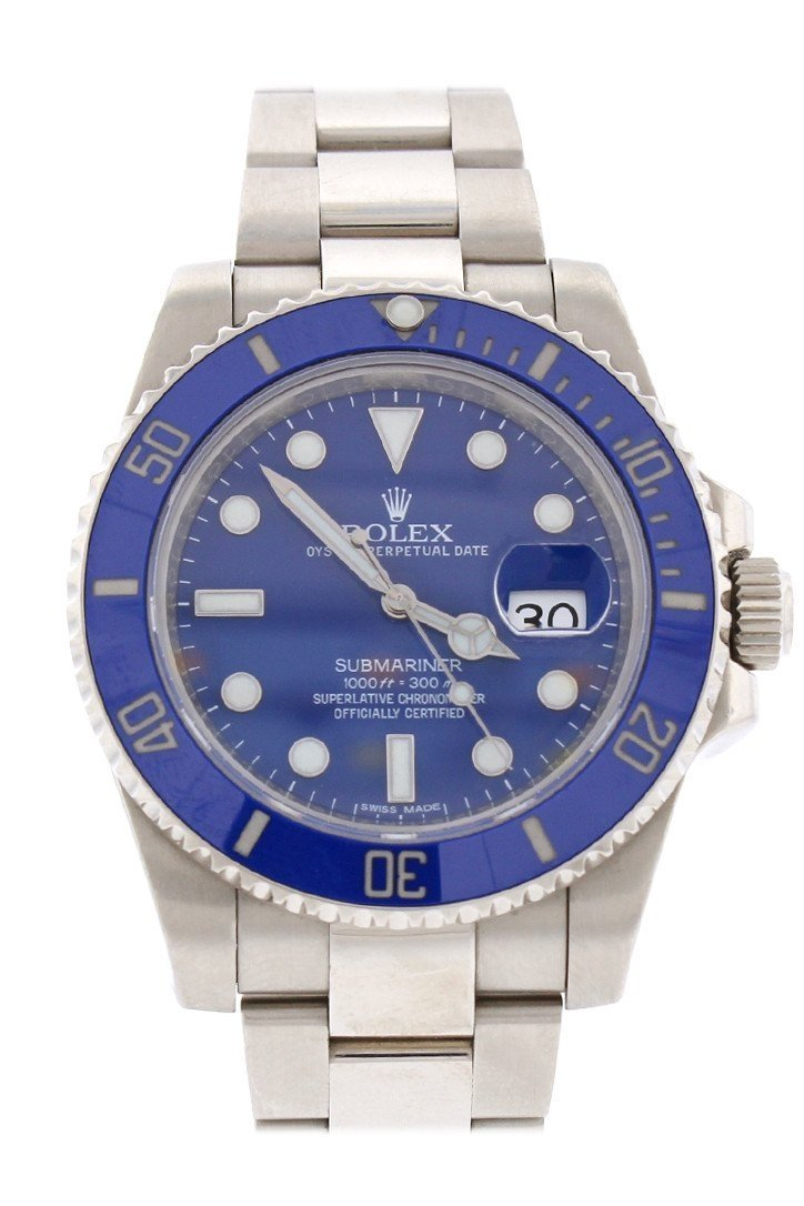 Rolex Submariner Date Blue Dial 18K White Gold Steel Mens Watch 116619Lb / None Pre-Owned-Watches