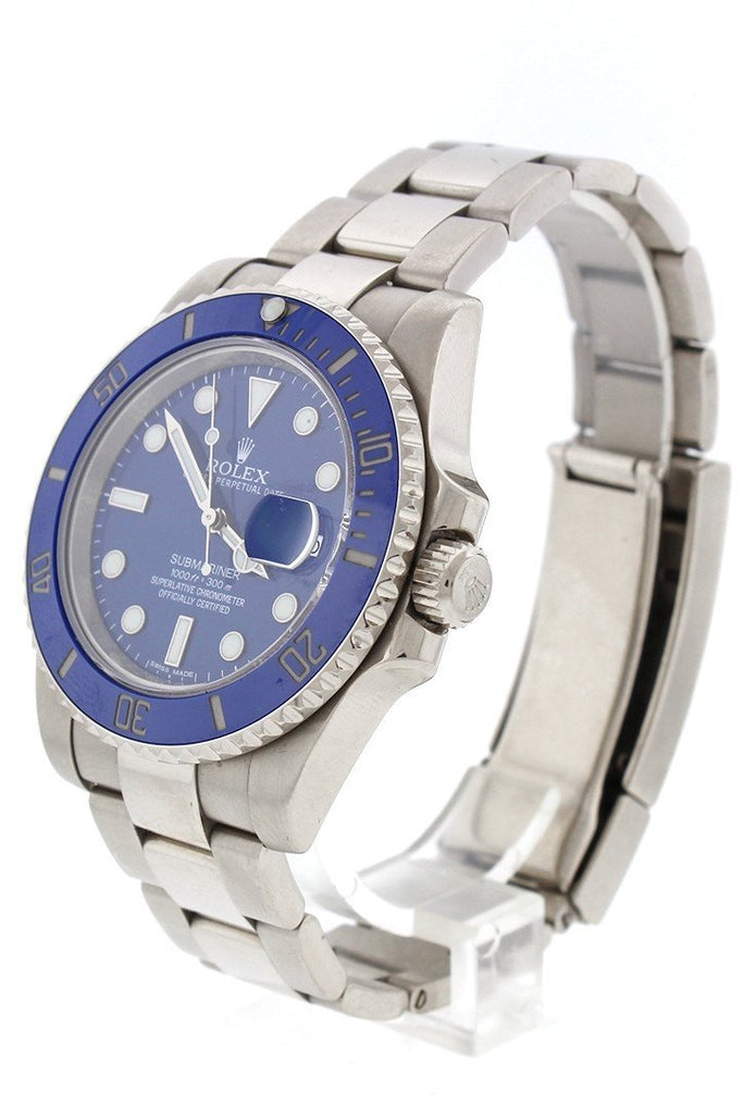 Pre Owned Rolex Submariner 40 Blue 18k White Gold 116619LB | WatchGuyNYC