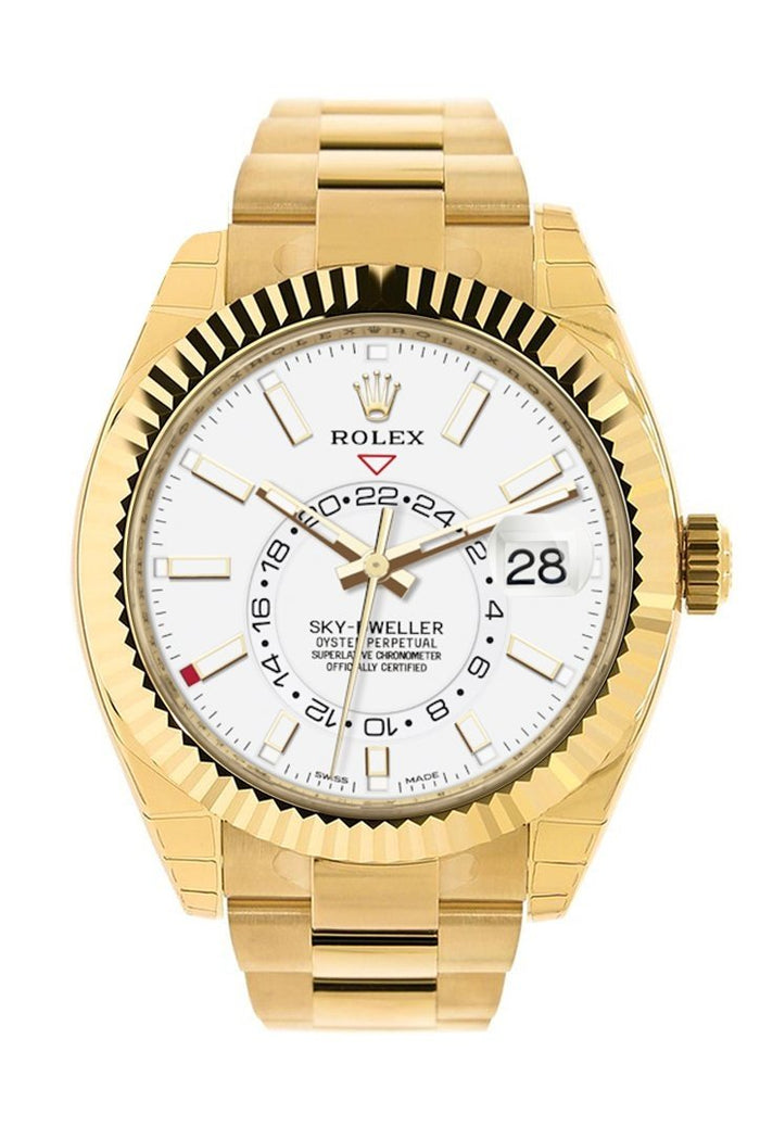 Rolex Sky Dweller White  Dial 18kt Yellow Gold Men's Watch 326938
