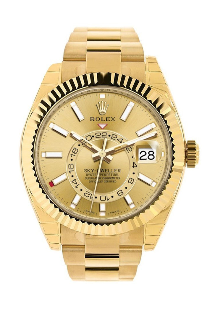 Rolex Sky Dweller Champagne Dial Gmt 18kt Yellow Gold Men's Watch 326938