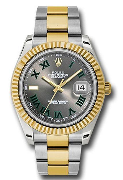 Rolex Datejust Ii 41 Grey Roman Dial Mens Watch 116333