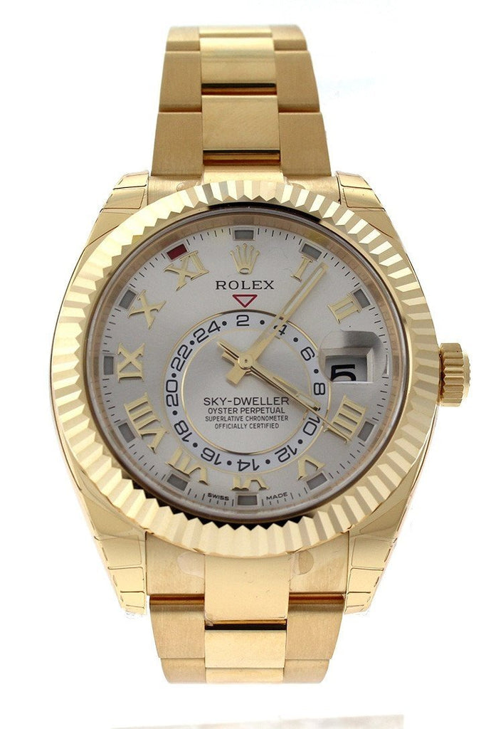 ROLEX Sky-Dweller 42 Silver Roman Dial Yellow Gold Men's Watch 326938